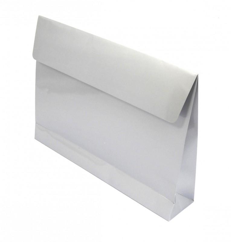 Trendy Envelopes glansgeplastificeerd, ZILVER Medium 30x6x22cm+7cm, verpakt per 100 stuks