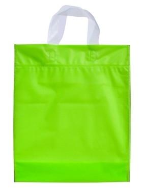 Kunststof draagtas met lus handgreep formaat 30x35+5cm, limoen, verpakt per 500 stuks.