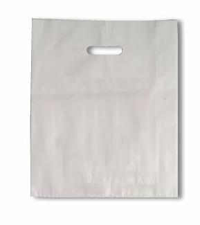 Kunststof draagtas  met uitgestanste handgreep formaat 38x44+4cm, wit, verpakt per 500 stuks.