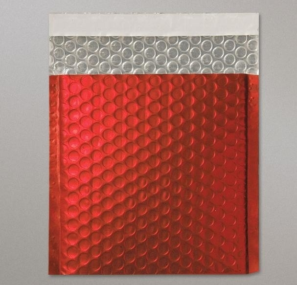 Metallic Bubble Bag, 16,5 x 16,5cm (CD), Mat Red, verpakt per 100 stuks.
