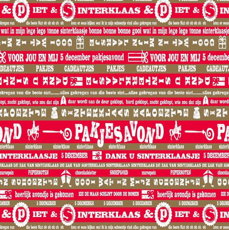 Sinterklaaspapier glanzend 691490/5-30 Pakjesavond rood goud, 125 meter