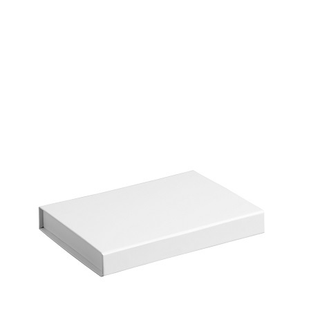 Gift Box DeLuxe; luxe geschenkdoos mat gelamineerd, WIT 22x16x2,5cm, A5, verpakt per 25 stuks
