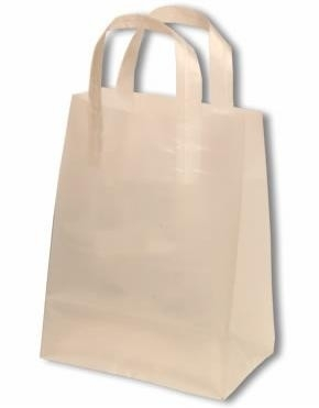 Kunststof draagtas met blokbodem en lus handgreep formaat 26x10x35cm, transparant, verpakt per 500 stuks.
