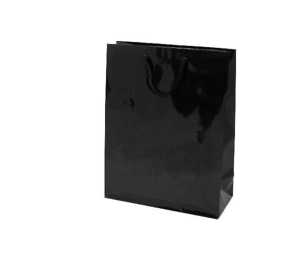Luxe papieren draagtas glansgelamineerd, formaat 20x10x25cm, ZWART, verpakt per 200 stuks