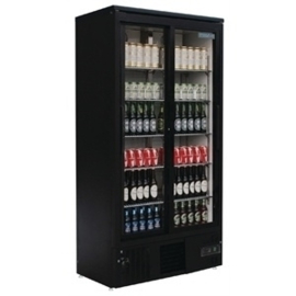 Glasdeur horeca  koelkast zwart  met dubbele klapdeuren