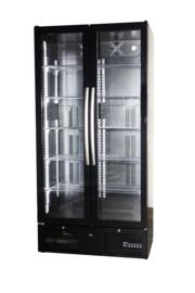 Horeca koelkast zwart met 2 glasdeuren