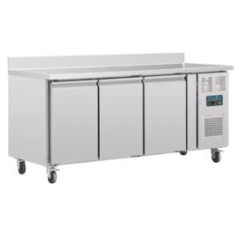 RVS koelwerkbank koeling met spatrand (417ltr)