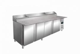 Pizzakoeling | koelwerkbank 4 deuren met granieten blad