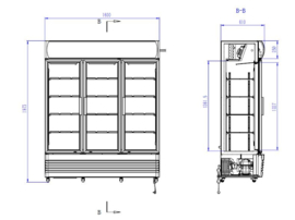 Bedrijfskoelkast met 3 glazen klapdeuren