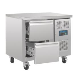 RVS koelwerkbank GN met 2 laden