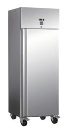 RVS 600 liter koelkast, statisch gekoeld met ventilator.
