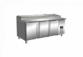 Pizzakoeling | koelwerkbank 3 deuren met granieten blad