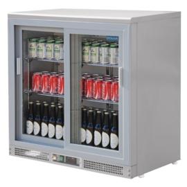 Barkoelkast | displaykoeling zilver Schuifdeuren 180 flessen