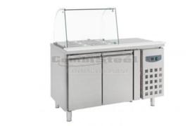 Koelwerkbank  RVS met Glasopstand  2 Deuren