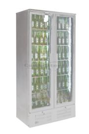 RVS Glasdeur koelkast | Flessenkoelkast met 2 deuren