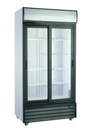 Glasdeur koelkast met schuifdeuren