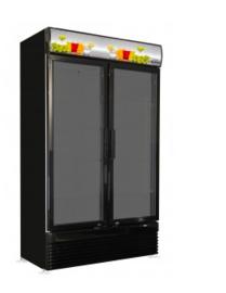 Koelkast met 2 glasdeuren zwart