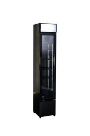 Horecakoelkast zwart met glazen deur smal model
