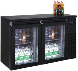Barkoeling | Barkoeler zwart met 2 glazen deuren 95cm hoog