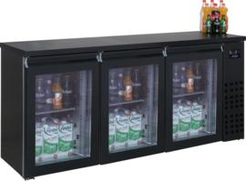 Barkoeling | Onderbouwkoelkast 3 glasdeuren zwart 500 Liter 95cm hoog