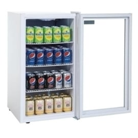 Tafelmodel glasdeur koelkast wit