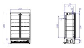 Bedrijfskoelkast met 2 glazen deuren