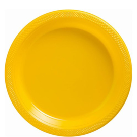 Plastic Dessert en Lunchbord  Geel