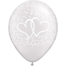 Ballon Entwined Hearts wit