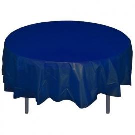 Ronde plastic tafelkleed  donker blauw