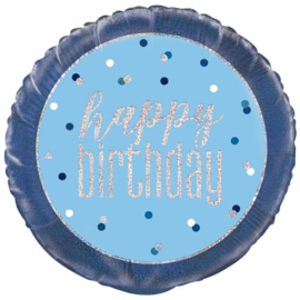 Blue Birthday Glitz HB Folie Ballon