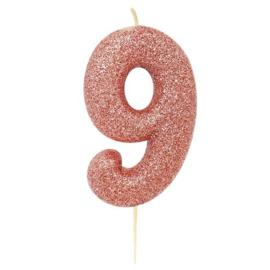 Cijferkaars Roze Goud nr. 9