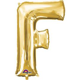 Folieballon letter F goud