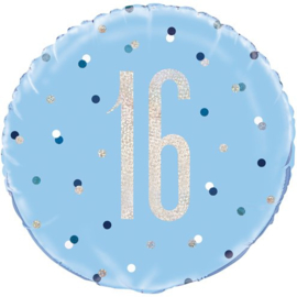 Blue Birthday Glitz 16 Folie Ballon