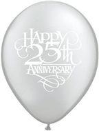 Ballonnen 25th anniversary zilver
