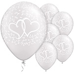 Ballon Entwined Hearts Transparant