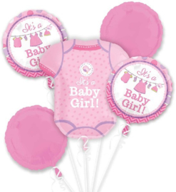 Shower  With Love Baby Girl Folie Ballonnen Boeket