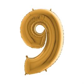 Folieballon cijfer 9 goud