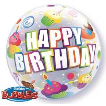 Happy B-Day Colorful Cupcake Bubble Ballon