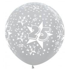3ft (90cm) ballonnen 25  zilver