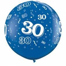 3ft (90cm) ballon cijfer 30 blauw