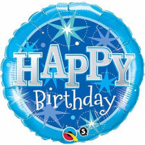 B-Day Blue Sparkle Supershape Folie Ballon
