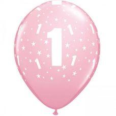 Helium ballon leeftijd 1 jaar rose