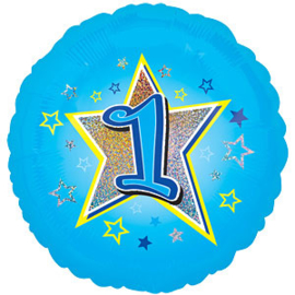 Folie ballon 1st birthday blue star