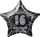 16th Star Foil Balloon Black