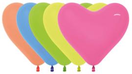 Harten ballonnen neon assorment