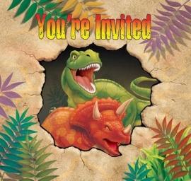 Dino Blast uitnodigingskaarten met envelop