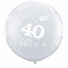 3ft (90cm) ballon cijfer 40 transparant