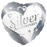 Silver Anniversary Heart Foil Balloon