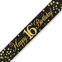 16th Birthday Black and Gold Holographic Banner