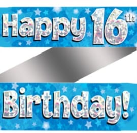 16th Birthday Blue Holographic Banner